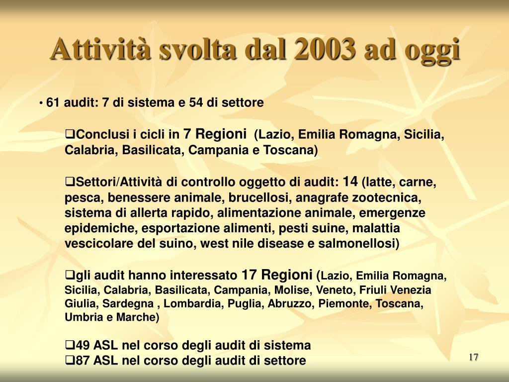 Attività svolta dal 2003 ad oggi