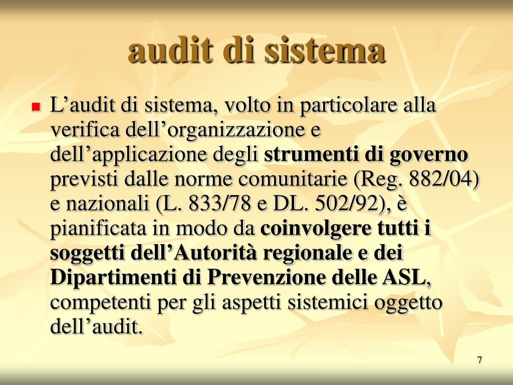 audit di sistema