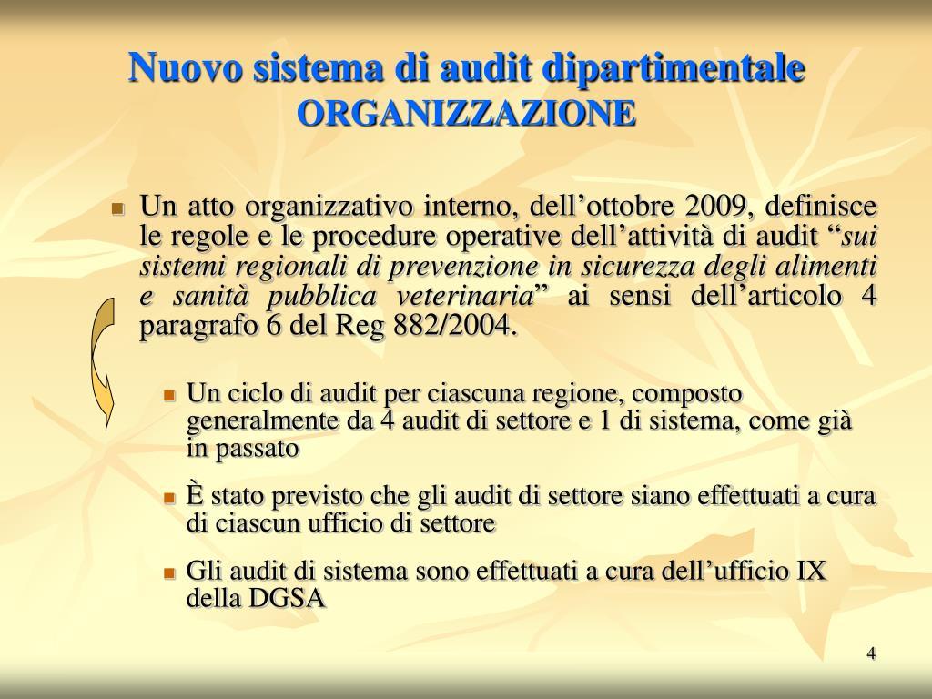 Nuovo sistema di audit dipartimentale