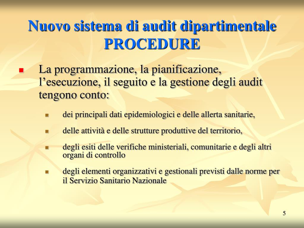 Nuovo sistema di audit dipartimentale  PROCEDURE