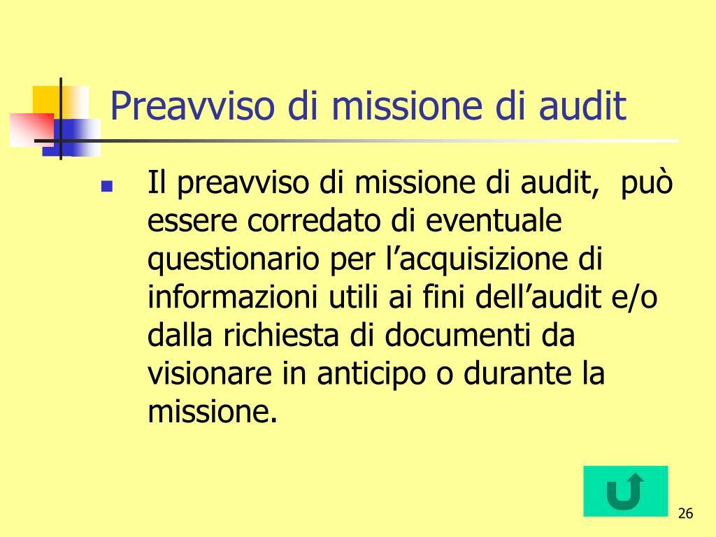 Preavviso di missione di audit