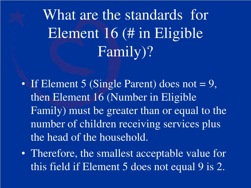 What are the standards  for Element 16 (# in Eligible Family)?