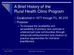 a brief history of the rural health clinic program