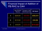 financial impact of addition of pb rhc to cah