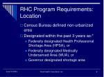 rhc program requirements location
