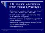 rhc program requirements written policies procedures