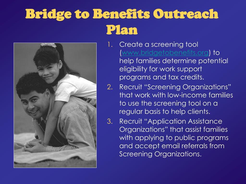 Bridge to Benefits Outreach Plan