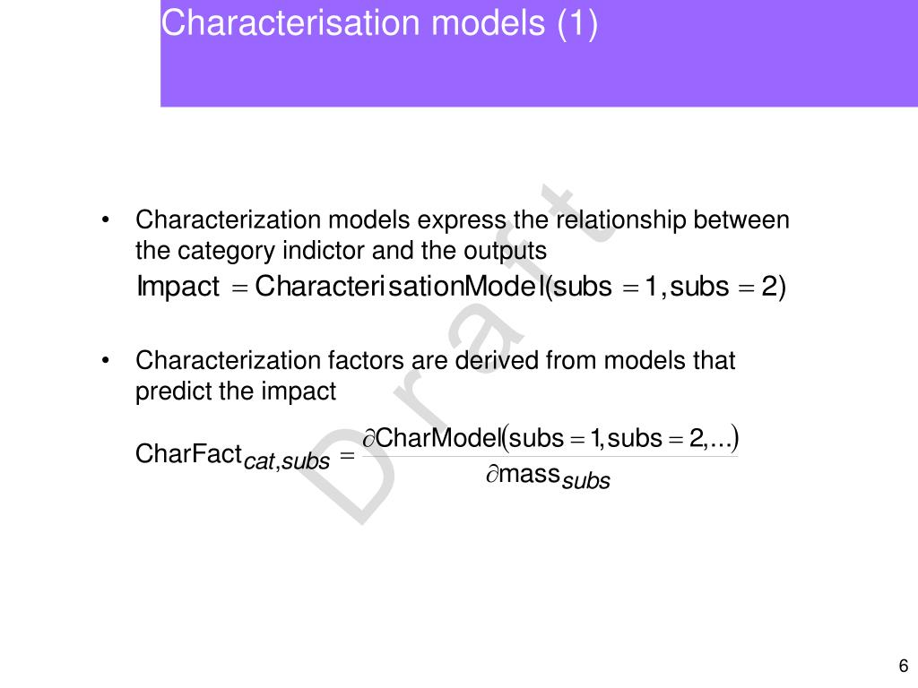 Characterisation models (1)