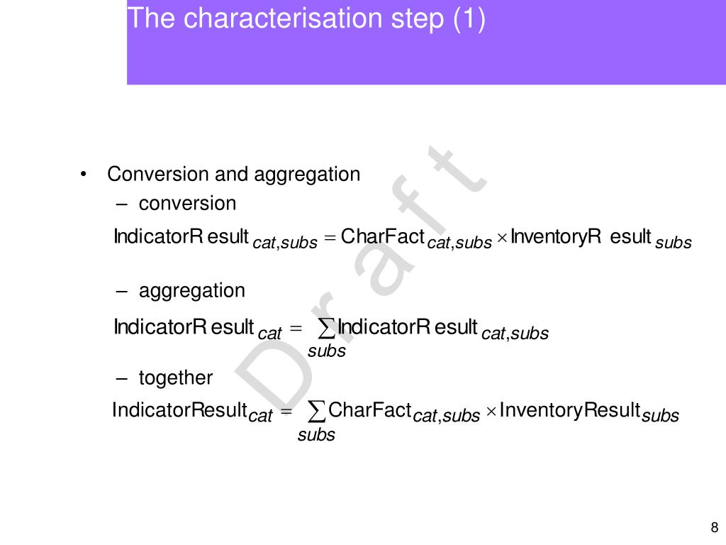 The characterisation step (1)