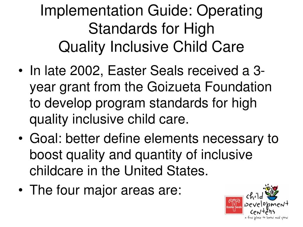 Implementation Guide: Operating Standards for High