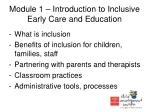 module 1 introduction to inclusive early care and education