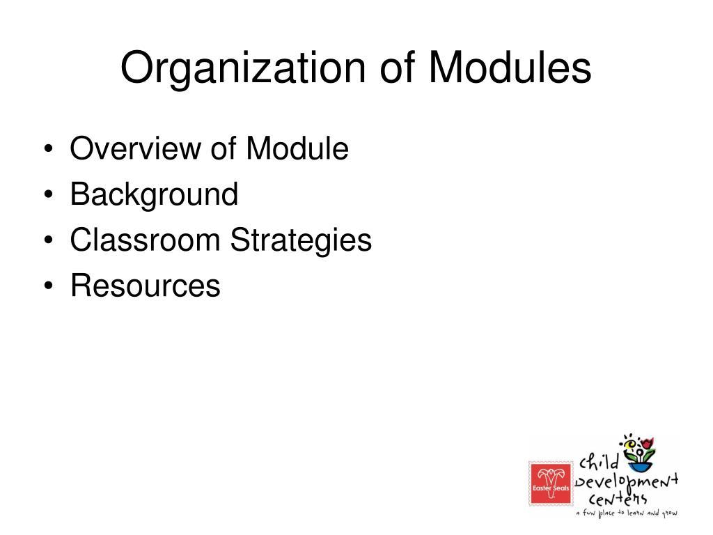 Organization of Modules