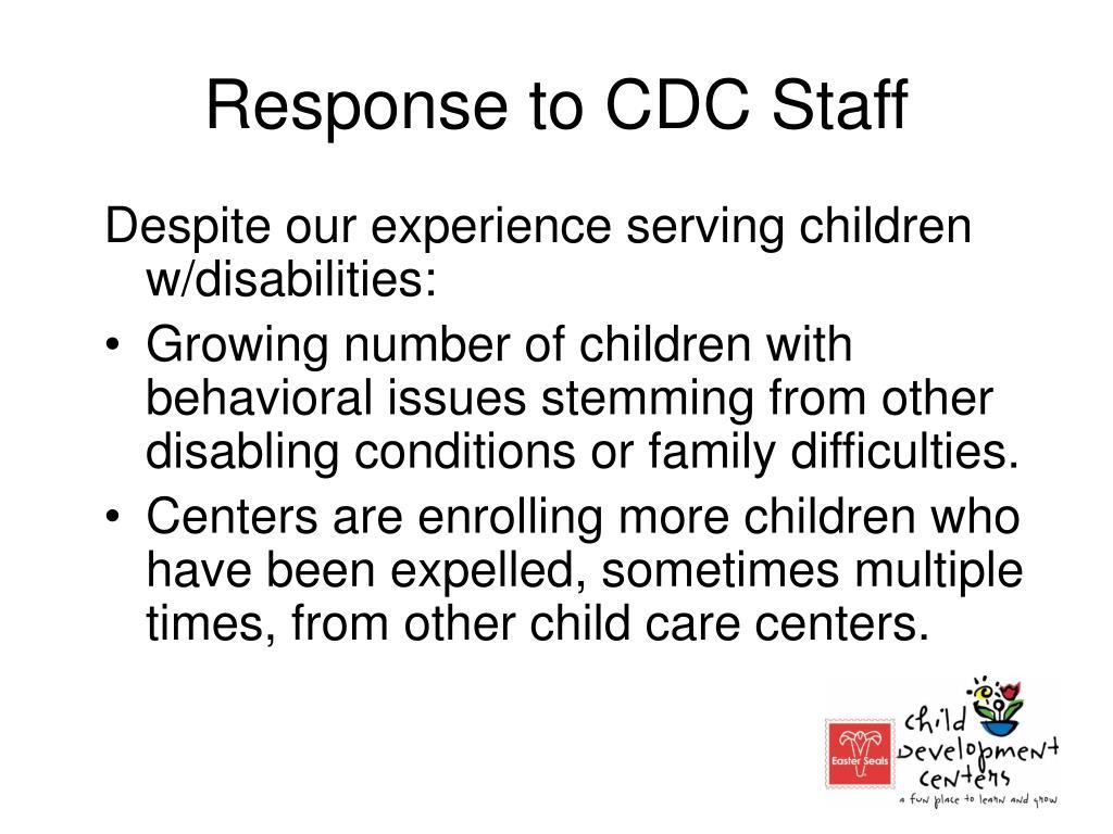 Response to CDC Staff
