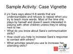 sample activity case vignette