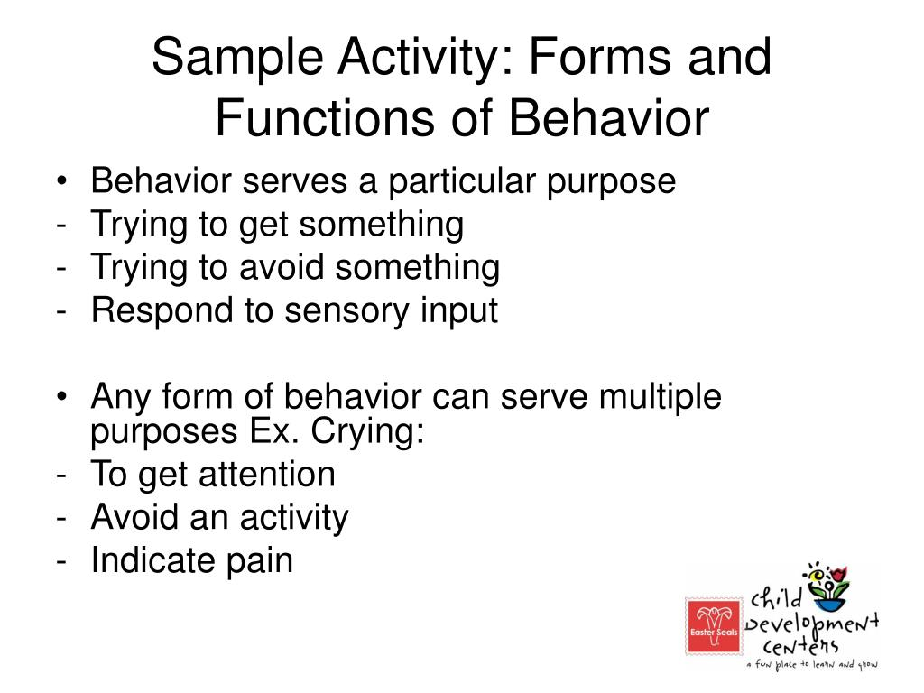 Sample Activity: Forms and Functions of Behavior