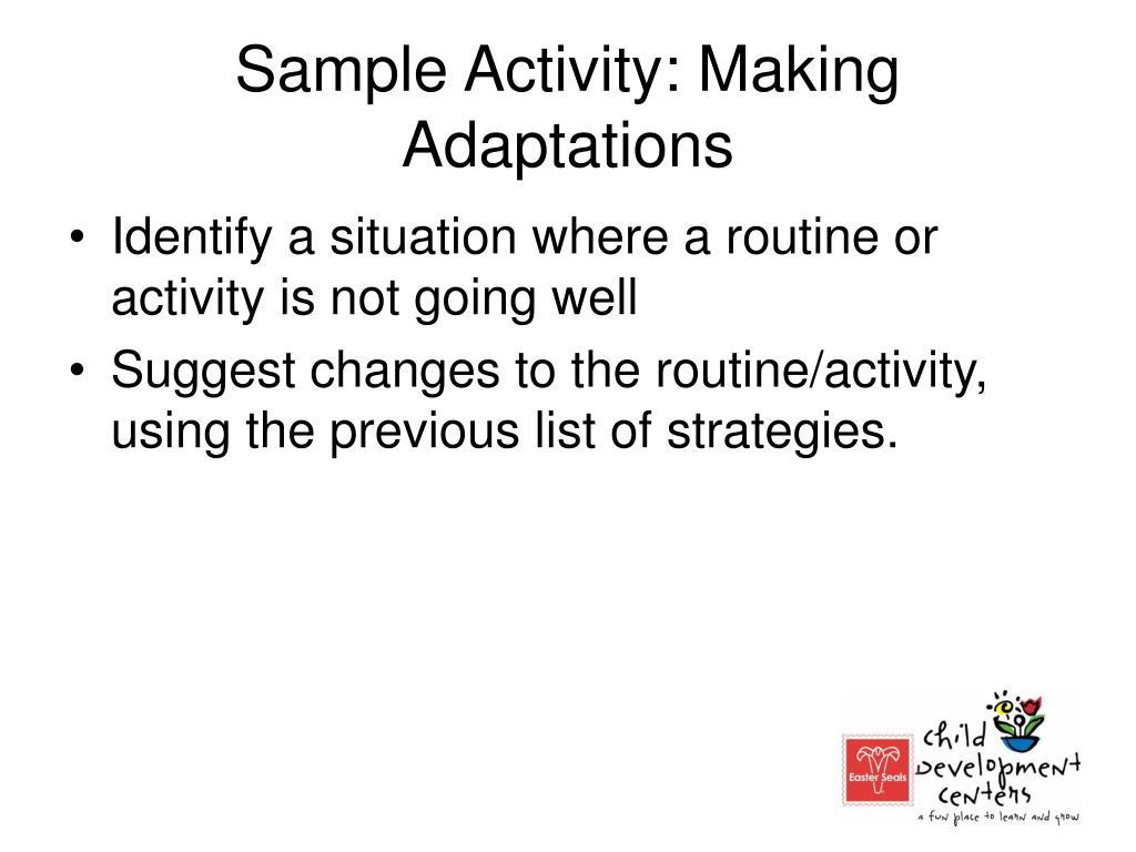 Sample Activity: Making Adaptations