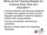 what are the training modules for inclusive early care and education