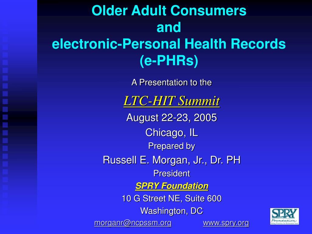 older adult consumers and electronic personal health records e phrs l.