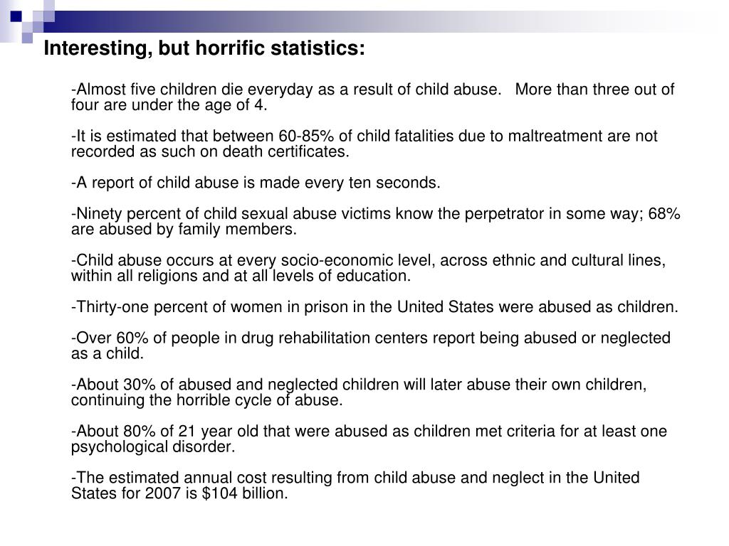 Interesting, but horrific statistics:
