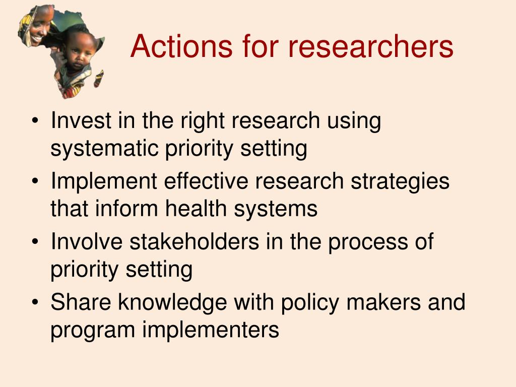 Actions for researchers