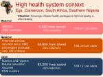 high health system context egs cameroon south africa southern nigeria