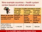 nine example countries health system context based on skilled attendance