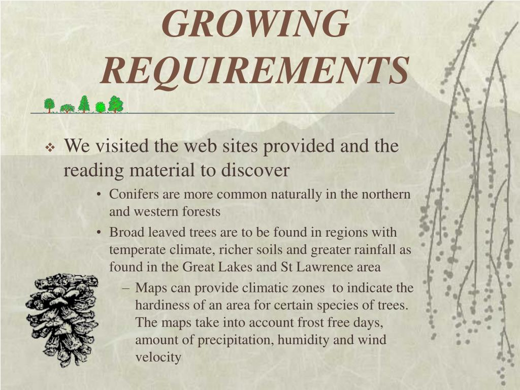 GROWING REQUIREMENTS