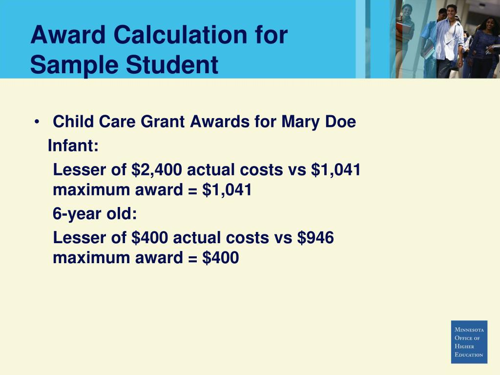 Award Calculation for Sample Student