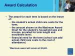 award calculation