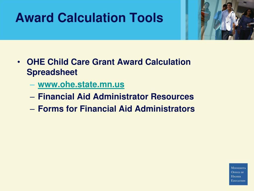 Award Calculation Tools