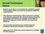 denial termination notice