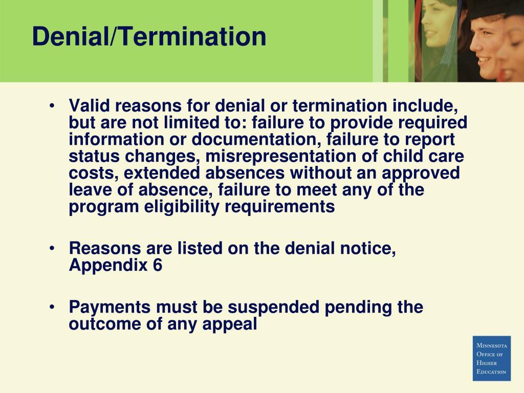 Denial/Termination