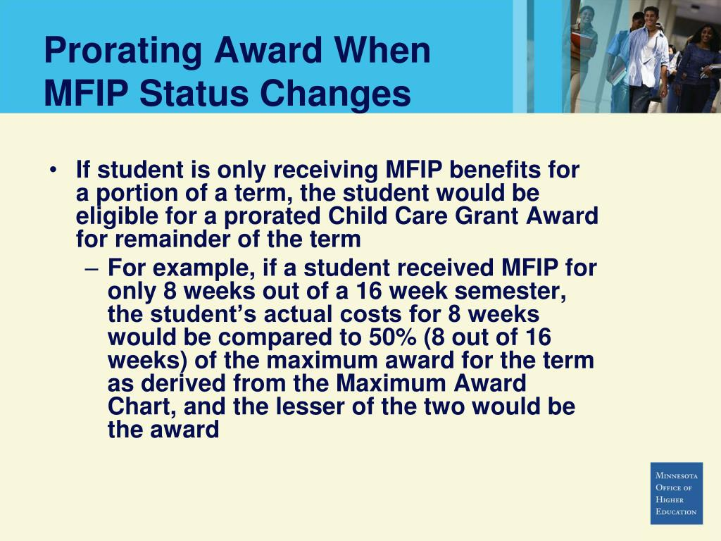 Prorating Award When MFIP Status Changes