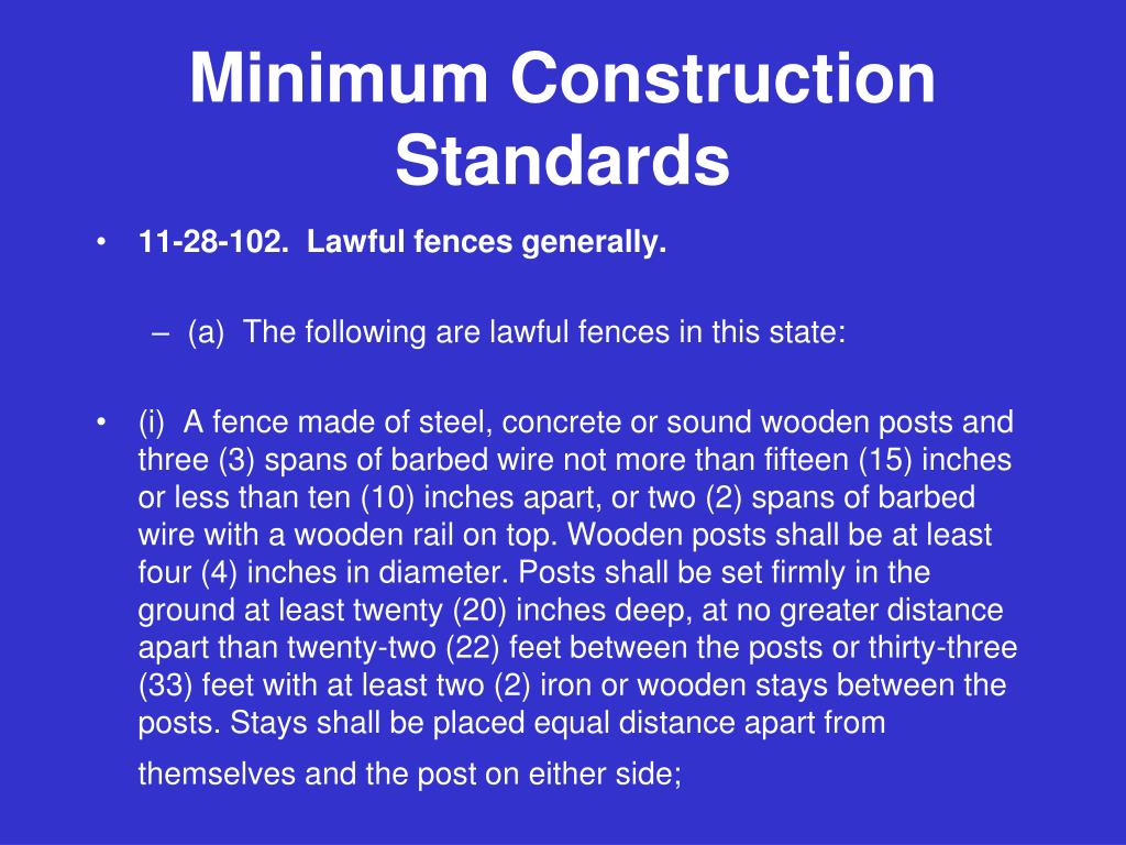 Minimum Construction Standards