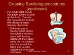 cleaning sanitizing procedures continued