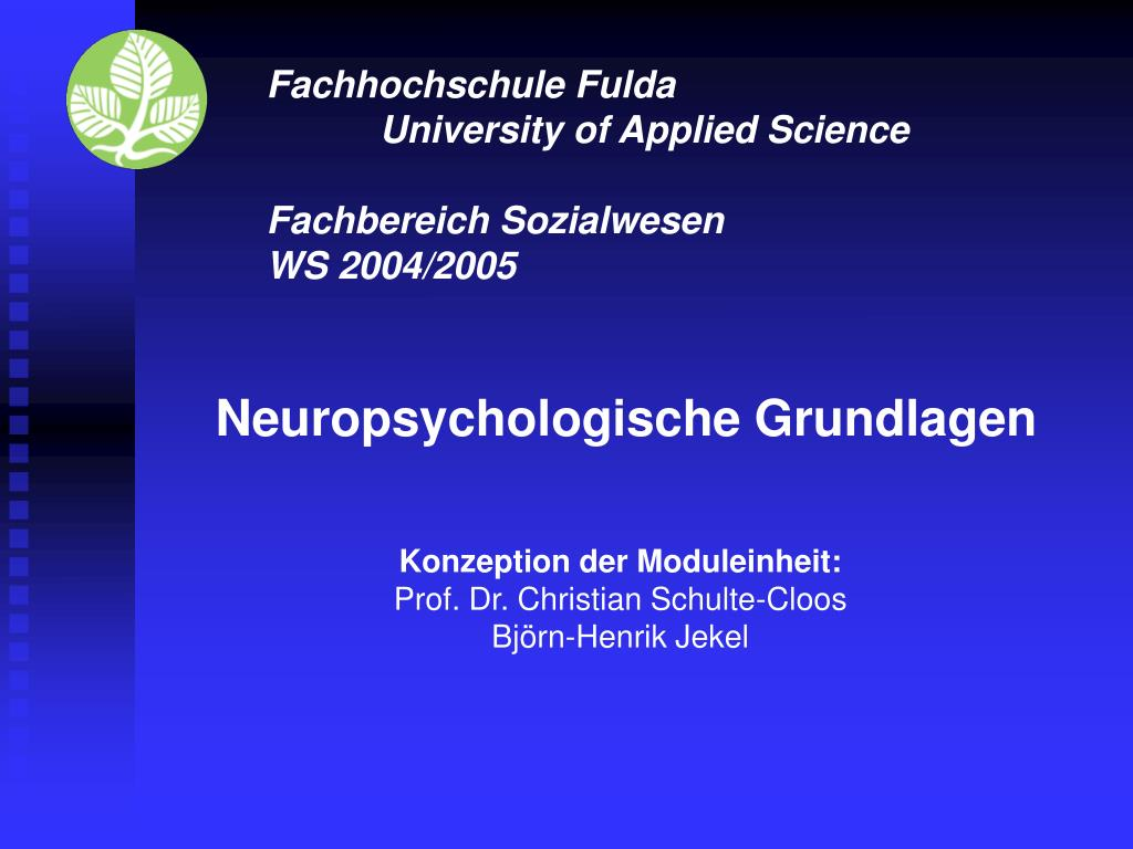 PPT - Fachhochschule Fulda University of Applied Science Fachbereich ...