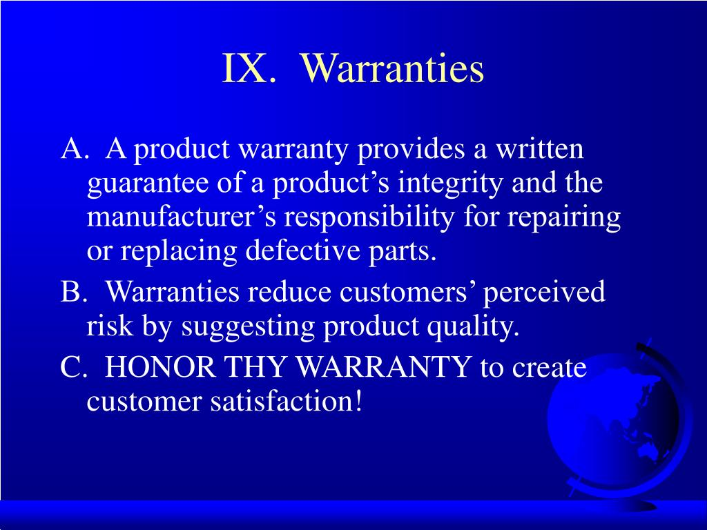 IX.  Warranties