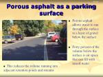 porous asphalt as a parking surface