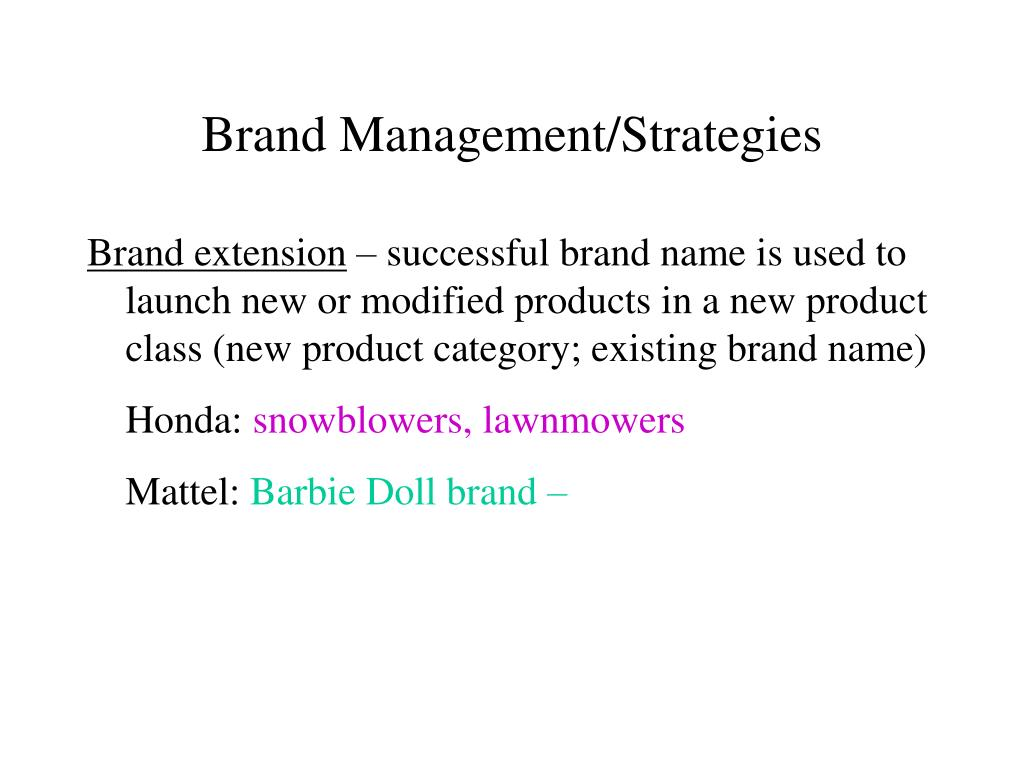 Brand Management/Strategies