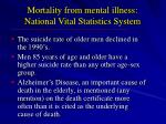 mortality from mental illness national vital statistics system