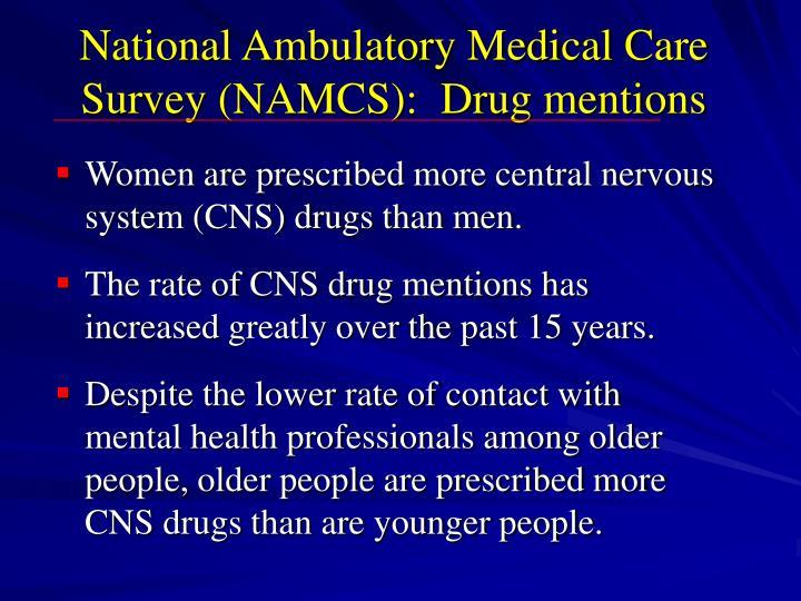 National Ambulatory Medical Care Survey (NAMCS):  Drug mentions
