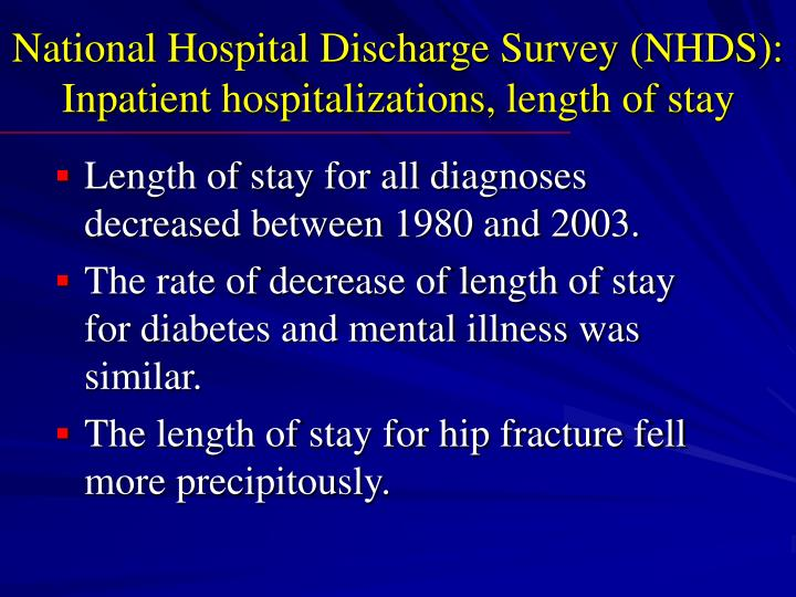 National Hospital Discharge Survey (NHDS):  Inpatient hospitalizations, length of stay