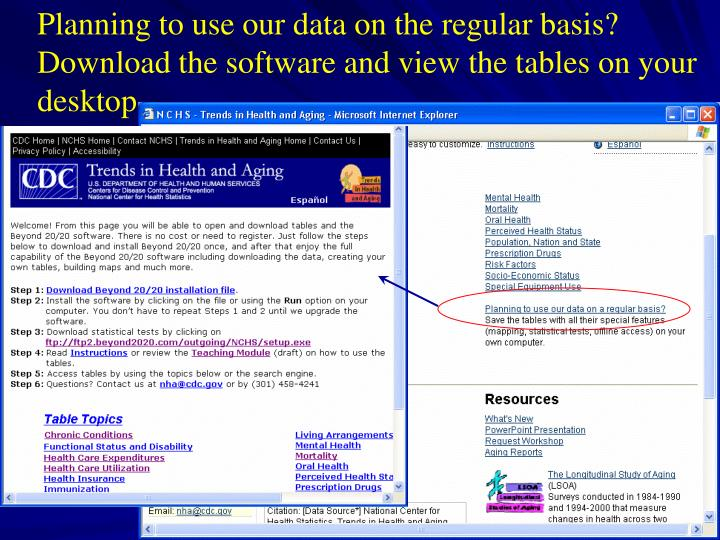 Planning to use our data on the regular basis? Download the software and view the tables on your desktop