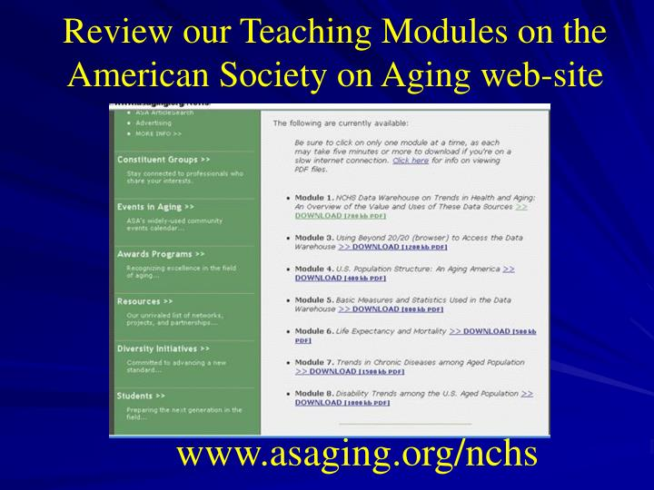 Review our Teaching Modules on the American Society on Aging web-site