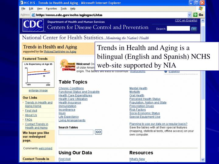 Trends in Health and Aging is a bilingual (English and Spanish) NCHS web-site supported by NIA