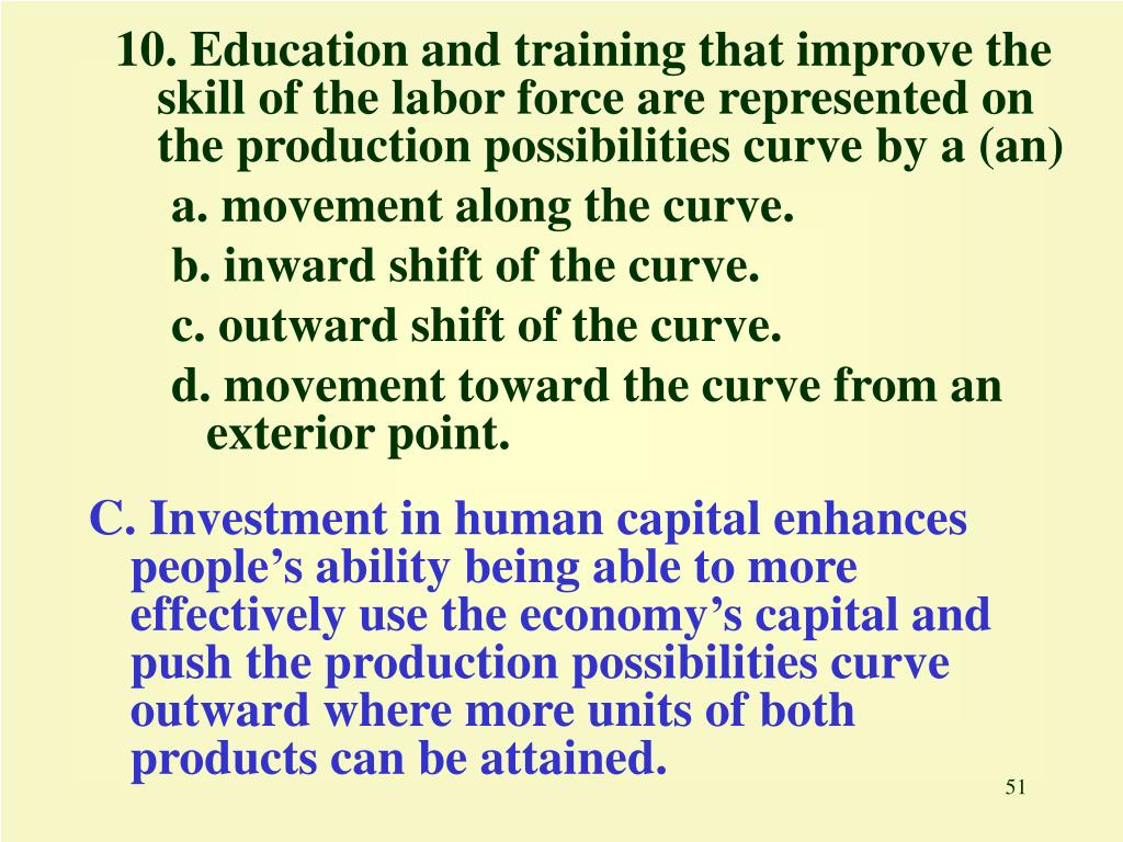10. Education and training that improve the skill of the labor force are represented on the production possibilities curve by a (an)