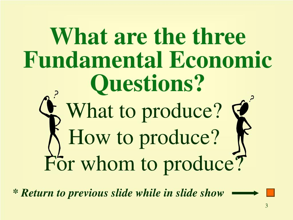 What are the three Fundamental Economic Questions?