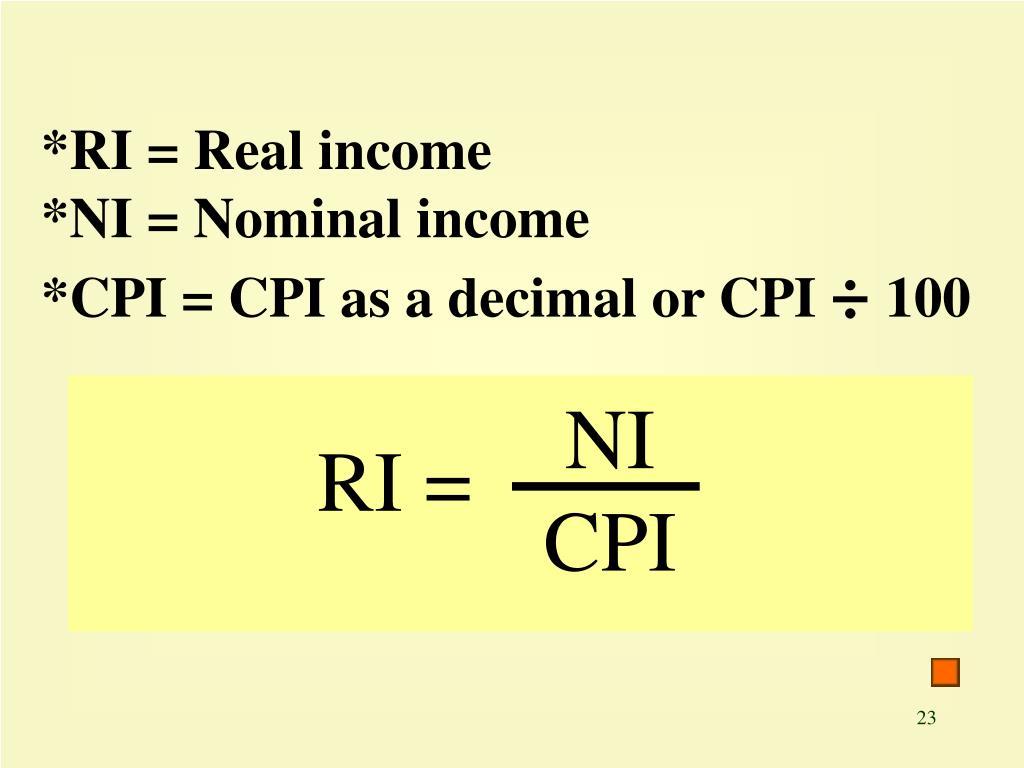 *RI = Real income