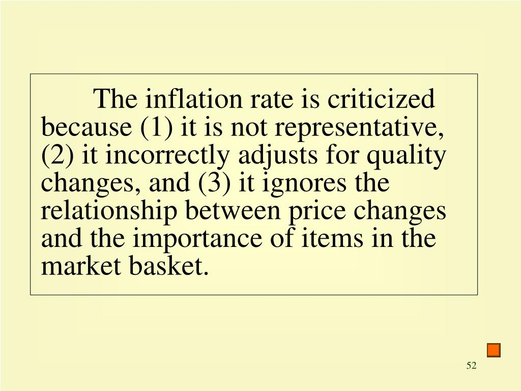 The inflation rate is criticized because (1) it is not representative, (2) it incorrectly adjusts for quality changes, and (3) it ignores the relationship between price changes and the importance of items in the market basket.