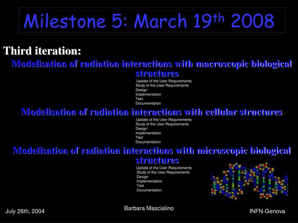 Milestone 5: March 19